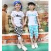 男童套装潮 2014夏装韩版格子拼接纯棉童装 儿童短袖2件套