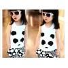 巴朵贝贝套装 熊猫童套装 夏季熊猫背心套装 男童女童套装